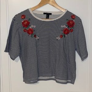 Striped floral embroidery shirt